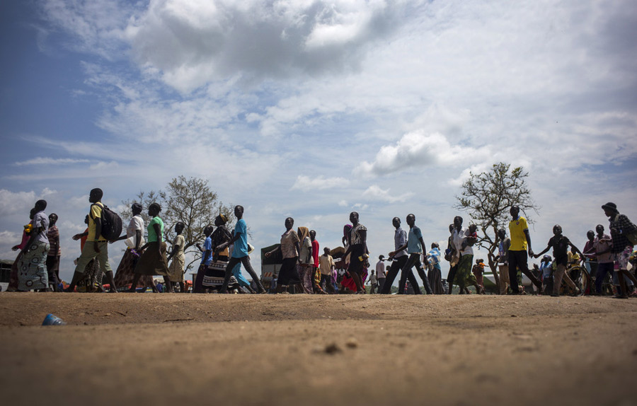 South Sudanese refugees arriving at Imvepi Refugee reception center, Uganda. Photo: Kieran Doherty/Oxfam