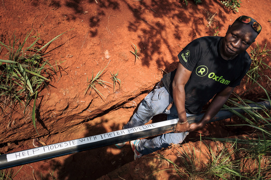 Modeste Mirindi, Oxfam's public health engineer. Credit: Alexis Huguet/Oxfam
