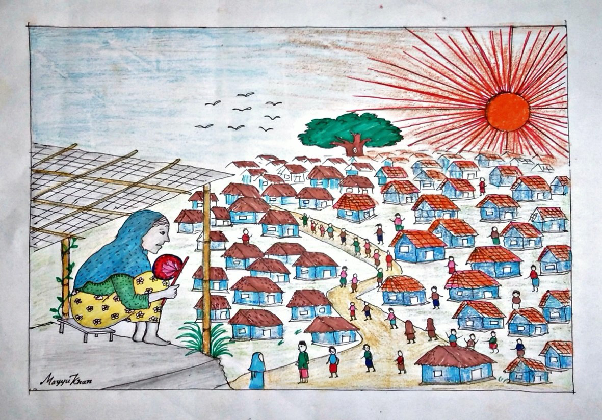 The Life of Rohingya Women in the Refugee Camp, illustration by Mayuu Khan