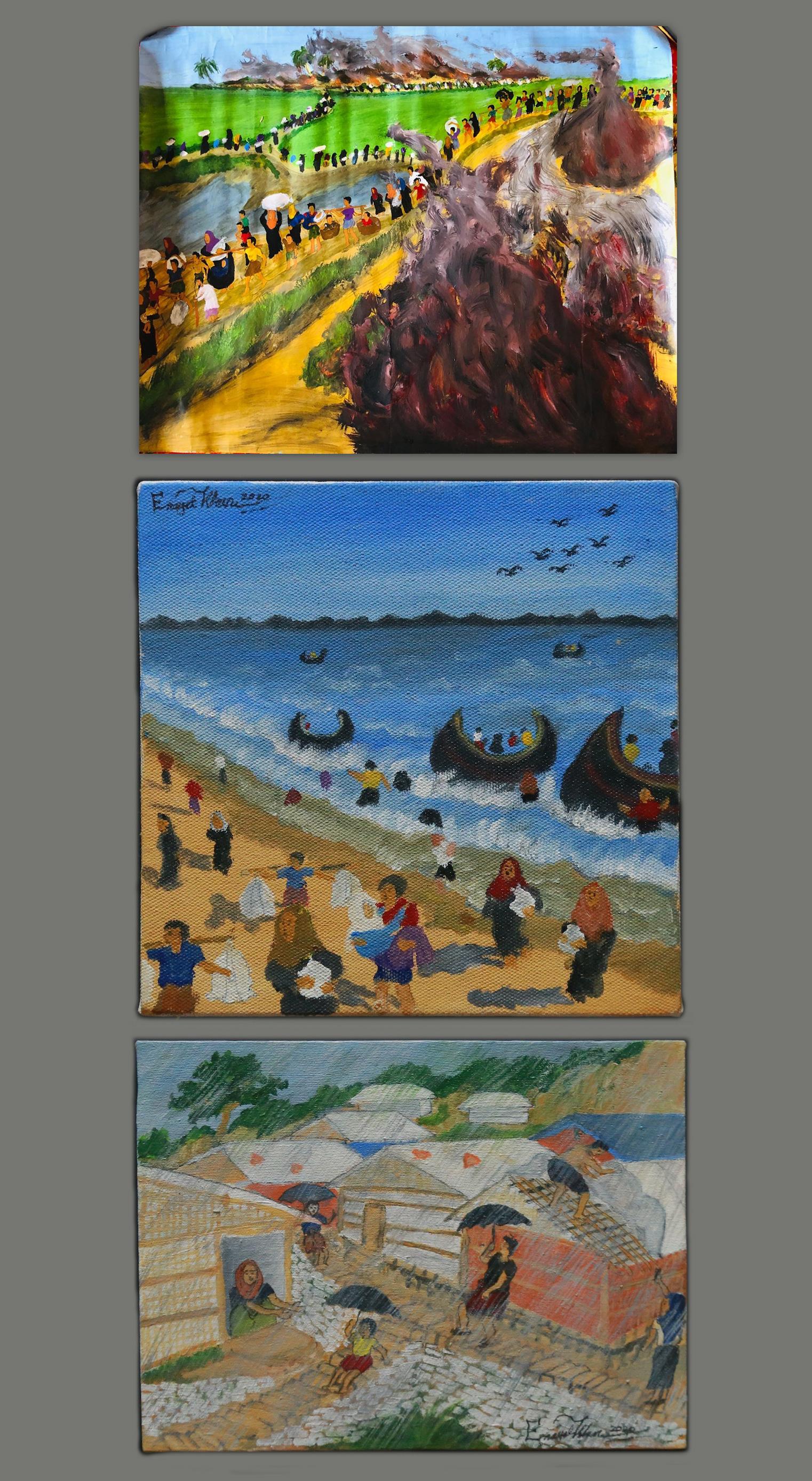 Enayet Khan, Reality of Rohingya (3 paintings)
