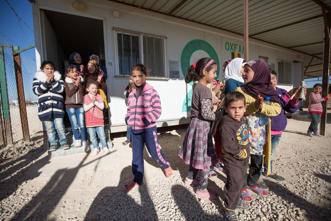 Children outside an Oxfam facility in Za'atari refugee camp, Syria