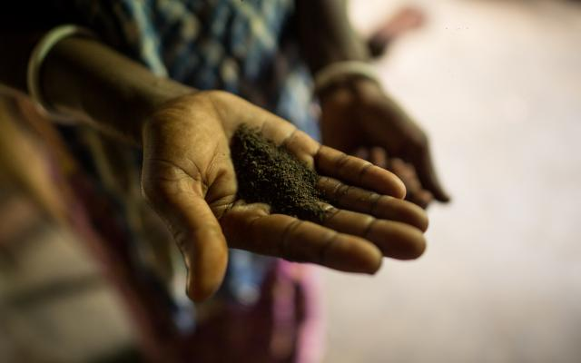 Tea. Rather tea dust. A woman shows the tea that the tea workers get as a monthly ration. Photo: Roanna Rahman/Oxfam