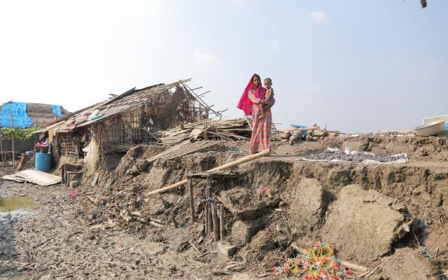 Champa (22) is standing in her parent's house which has been vanished overnight during cyclone Bulbul. Ramzannagar, Sathkhira.