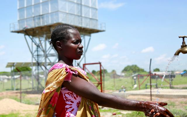 A solar water treatment plant in South Sudan