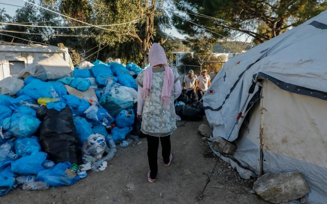 The 'Olive Grove' camp, which belongs to the EU refugees 'hotspot' of Moria in Lesvos, Greece.