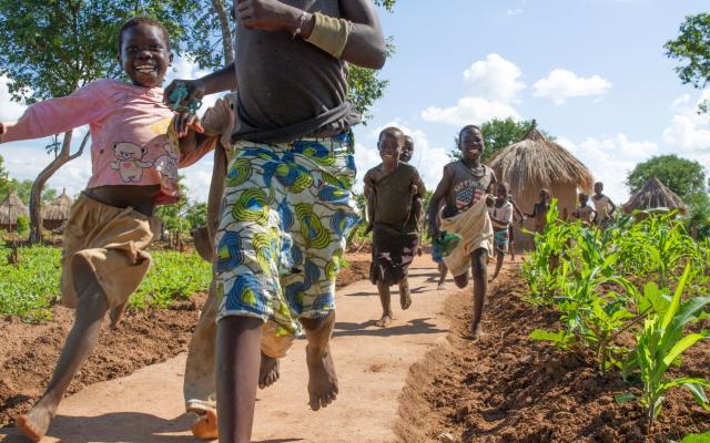 Children play near their homes at the Bidibidi refugee settlement in Uganda.