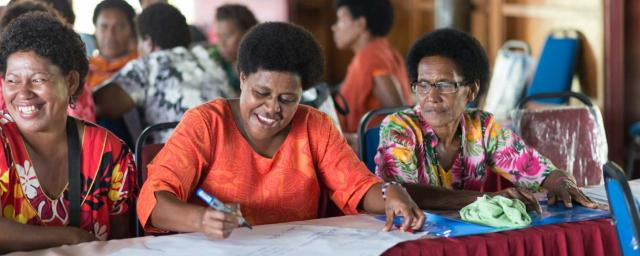 Oxfam's and partner in Fiji PCDF (Partners in Community Development Fiji) Public Health Promotion workshop, aimed to key community focus groups (health workers, men, women and youth). The overall objective was to strengthen communities / village health worker's capacity to mobilise Winston cyclone affected communities in WASH disease prevention and reduction. Credit: Alfredo Prado/OxfamAUS