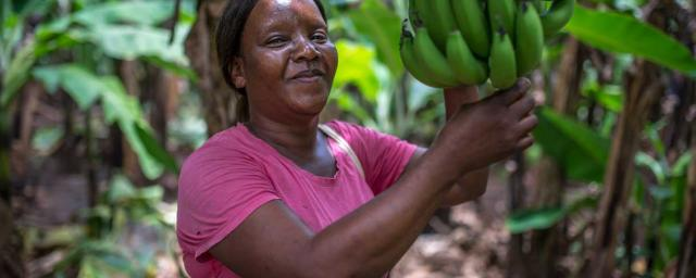 Faith, group secretary and member of the Kabwadu women's club (Banana project), stands in her banana plantation in Chirundu district, Zambia. Credit: Aurelie Marrier d'Unienville / Oxfam