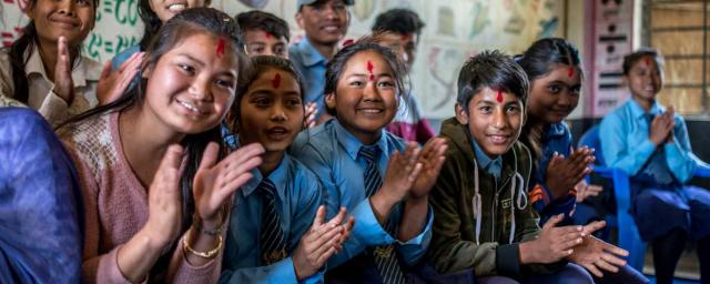 Students of the Child Club at the high school in a village in Nepalgunj district, Nepal, where OXFAM partner SAC is working in gender transformation to protect & empower girls, promote inclusive education, and a reduction in child marriage & violence against women. Credit: Aurélie Marrier d'Unienville/Oxfam