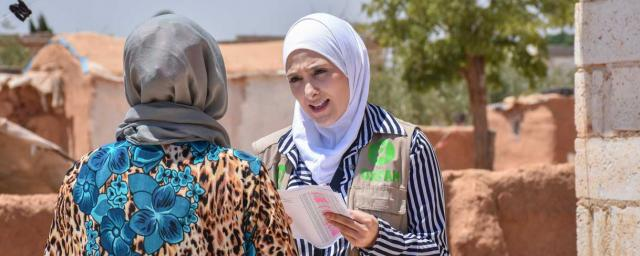 Oxfam in Syria Public health Promotion focal point in Aleppo. Sana Majeed is 24 years old. Her job is to increase awareness in communities in Aleppo to improve health and prevent the spread of disease. Credit: Islam Mardini/Oxfam