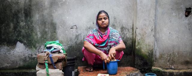 Rasheda in Chittagong, Bangladesh, has to share a water tap with 25 people and cannot afford basic healthcare.