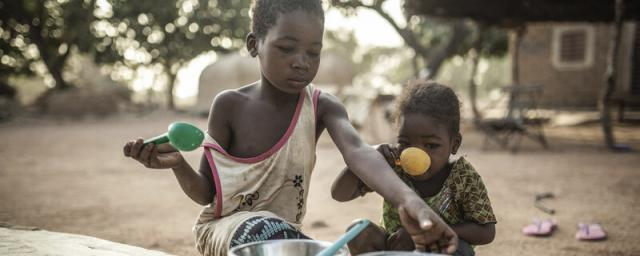 Children drinking milk in Burkina Faso