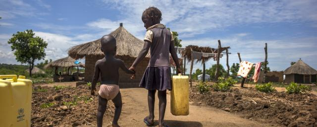Children collecting water, Bidibidi refugee camp, Northern Uganda.