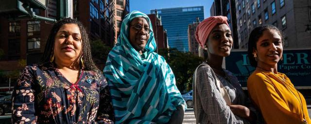 Huda Shafig, Safa Adam, Samah Jamous and Alaa Salah in New York City lobbying decision makers on the importance of women's inclusion in the transitional government in Sudan. © Susan Schulman/Oxfam