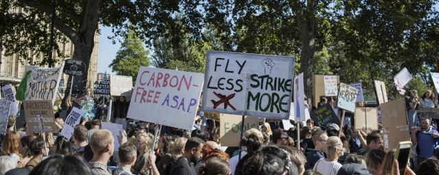 In London activists gathered in Westminster outside the Houses of Parliament to protest against climate change on September 20, 2019.