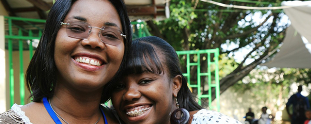 Vanessa Guillaume, Oxfam employee in Haiti and her mother