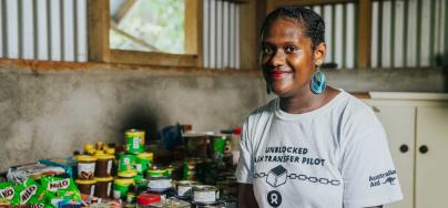 Pango, Vanuatu: Local Pango store owner Melika Kaluat at her store during the Oxfam/Sempo/ConsenSys led Unblocked Cash Blockchain pilot. Credit: Keith Parsons/OxfamAUS