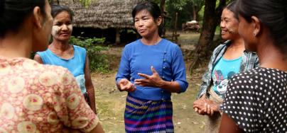 Supported by Oxfam, Daw Ma Khine Oo is very active in the community, advocating for community needs and supporting others when their rights are infringed. Credit: Dustin Barter
