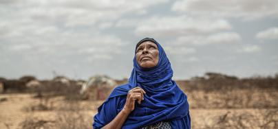 Amina (50) is the mother of 12 children. She is from Qararo. She arrived in the Gunagado displacement camp in 2017 after the drought killed her family's cattle and an outbreak of disease (probably cholera) endangered her family.