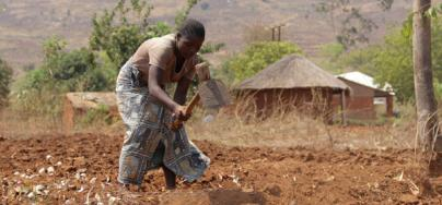 Jenipher Nkotima, 24, used to be able to grow enough maize to feed her family but that the recent drought, exacerbated by climate change, means there hasn't been enough food to go round. Photo: Eldson Chagara/Oxfam