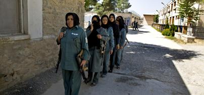 Kabul Police Academy, Women in class and weapons training. Photo credit: Ellie Kealey/Oxfam