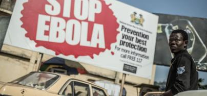 One of many Ebola billboards in Freetown sharing prevention messages on how to stop the spread of Ebola