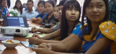 Garment workers at the workers rights training centre in Myanmar