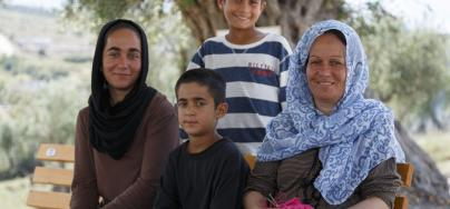 A refugee family in the Kara Tepe camp on the island of Lesvos