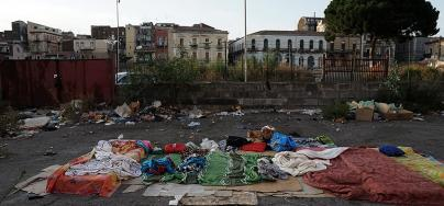 An abandoned construction site in the centre of Catania, where many Eritrean boys and girls, aged 11-16 years, have a shelter at night. Photo credit: Luigi Baldelli/Oxfam