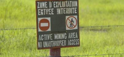 A warning sign, Sadiola Hill Gold Mine, western Mali; August 2006. Photo: Brett Eloff