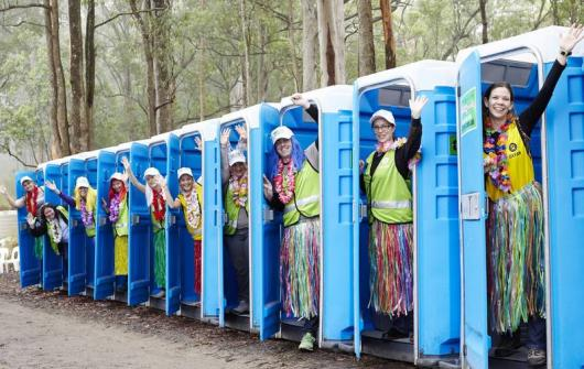 The Oxfam trailwalkers in Australia have a chance to win their own private toilet through their fundraising efforts. Photo credit: Jason Malouin/ Oxfam AUS