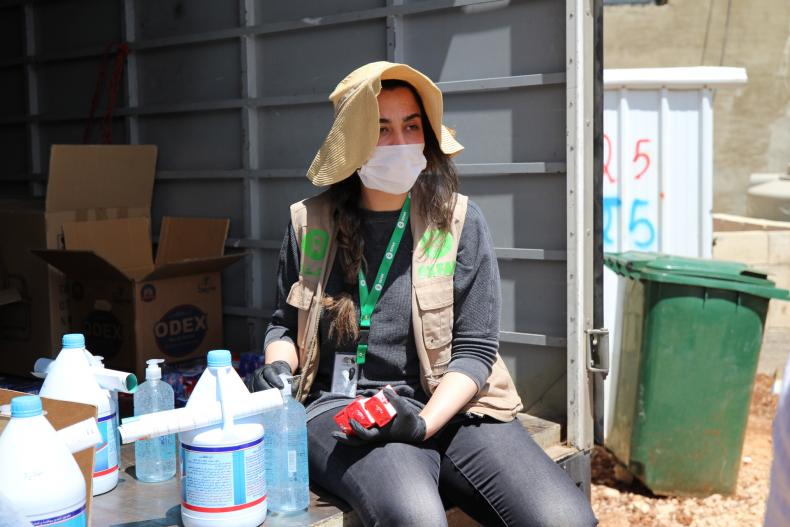Oxfam in Lebanon is distributing disinfection kits to refugee families from Syria living in informal tented settlements, in the region of North Bekaa.